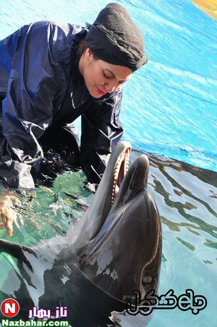عکس های جدید مهناز افشار کنار دلفین ها در استخر