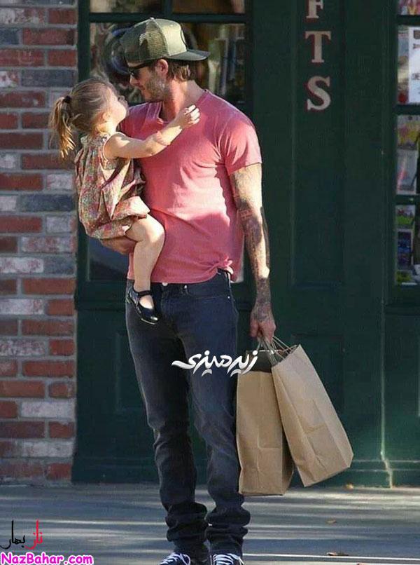 عکس دیوید بکام و بچه اش,دیوید بکهام و دخترش